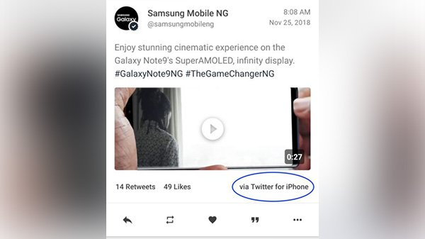Samsung's official Twitter Account seized using an iPhone, get's trolled
