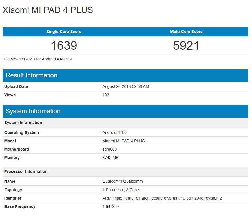 Xiaomi Mi Pad 4 Plus Geekbench