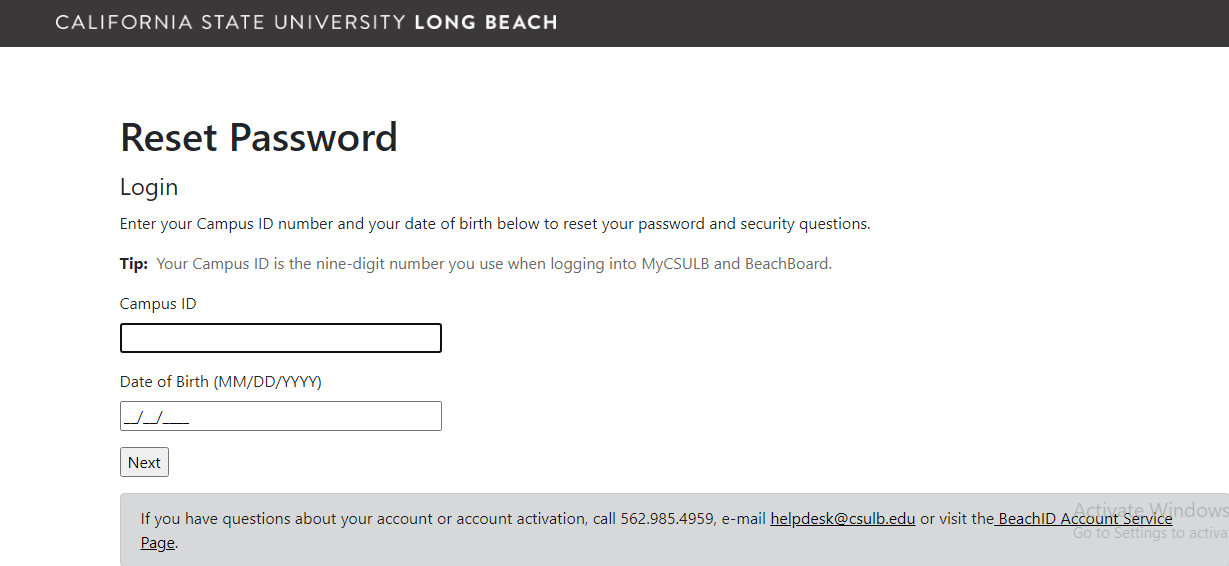 MyCSULB reset password
