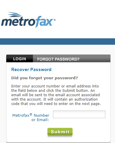 metrofax forgot password