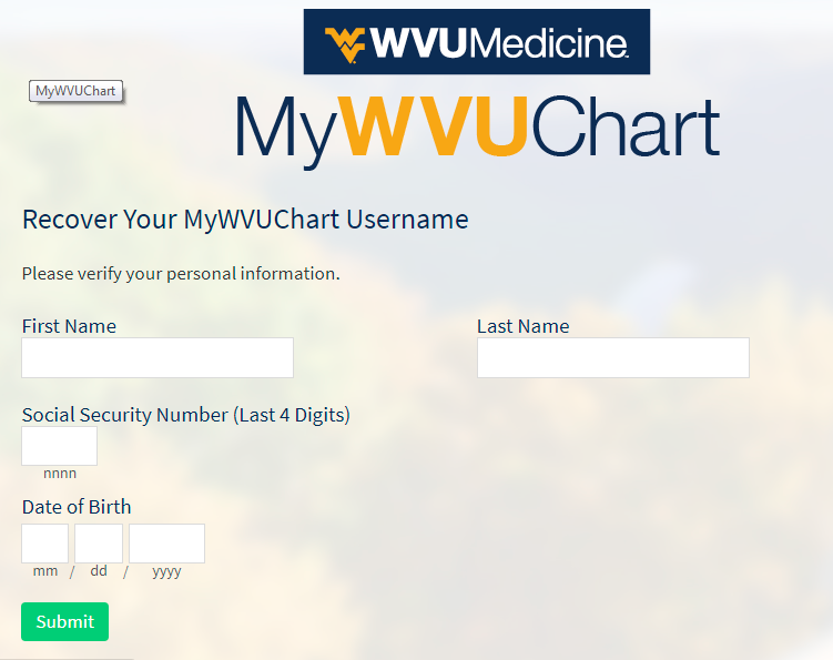 Forget Username, How TO Recover MyWVUChart Username?