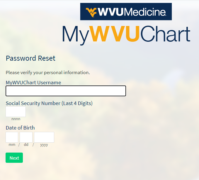 Forget My Password, How To Reset MyWVUChart Password?